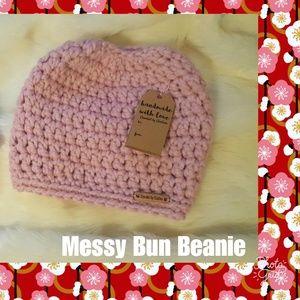 Handmade Crochet Messy Bun Beanie